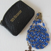 Blue Glass Vintage Religious Rosary Beads and Leather Case