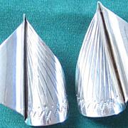 Vintage Sterling Silver Large Modernism Pierced Earrings