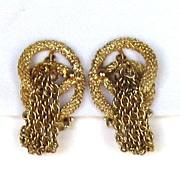 Kramer Vintage Gold Tone Tassel Earrings