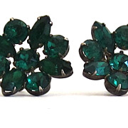 Vintage Sterling Silver Green Glass Stone Earrings