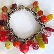 Vintage Art Glass Charm Bracelet.
