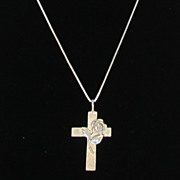 Sterling Silver Flower Cross Necklace