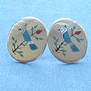 Sterling Silver Vintage Inlaid Bird Pierced Earrings