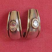 Vintage Sterling Silver,Gold Trim Crystal Demi Loop Pierced Earrings