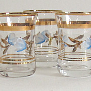 Three Lovely Vintage Hand Painted Shot Glasses