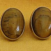 Sterling Silver Vintage Tiger Eye Pierced Earrings