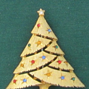 "Vintage ""JJ""  Simple Garland Cut Christmas Tree Pin"