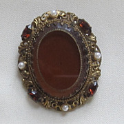 W.Germany Gold Tone Art Glass and Faux Pearl Brooch