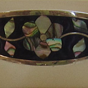 Vintage Abalone Shell Alpaca Silver Hinged bracelet