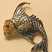 Large Vintage Enamel Fish Brooch with Jeweled Eye and Rhinestone