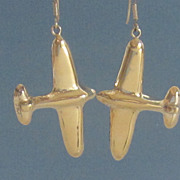 Wonderful Sterling Silver,Gold Plated Airplane Earrings