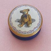 Vintage  Halcyon Enamel Box-Teddy Bear