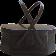 Vintage Leather Picnic Basket Style Handbag by Coblentz