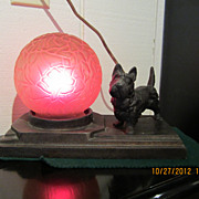 Art Nouveau Table Lamp with Scotty Dog