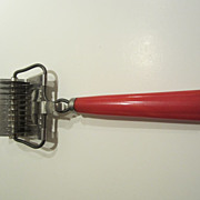 Vintage Red Bakelite Rolling Mincer Chopper Kitchen Utensil