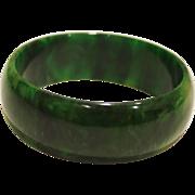 """SALE Marbled Green Bakelite Bangle Bracelet 7/8"""" Wide"""