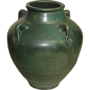 Red Ware Vase - Ovoid with Matte Green Glaze