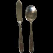 Vintage  Onieda Community Grosvenor Pattern Butter Knife and Sugar Spoon 1920s