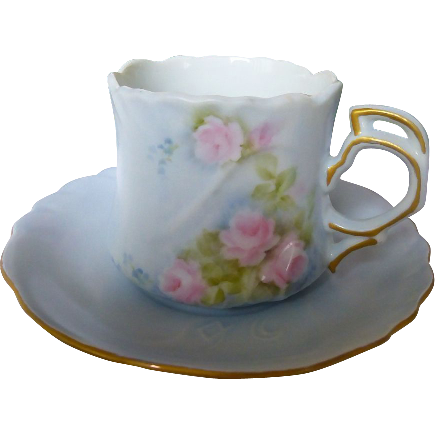 Set of 5  Hutschenreuther Sylvia China Tea cup and saucer