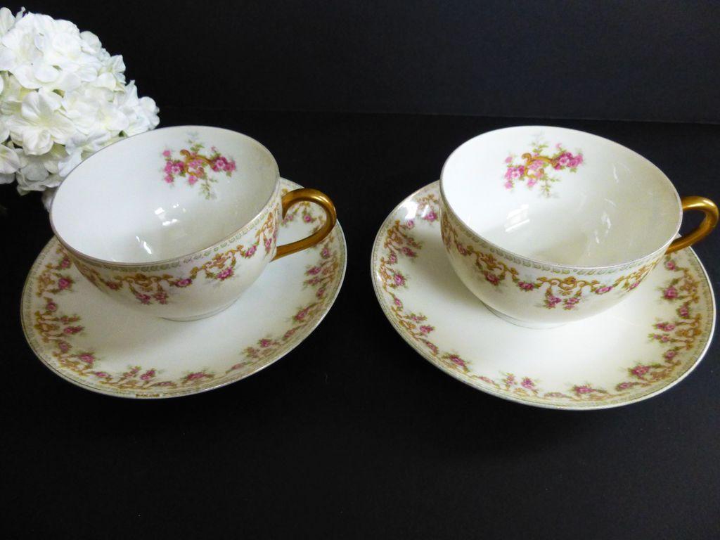 T&V Limoges set of 2 Tea Cup and Saucer c 1907-1919