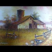 Vintage Everett Woodson Barn Scene Oil on Canvas