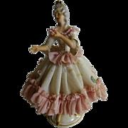 Vintage Dresden Victorian Woman Porcelain Figurine