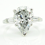 GIA 3.44ct Estate Vintage Solitaire PEAR Shaped and Baguettes Diamond Engagement Platinum Ring
