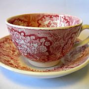 """Antique Societe Ceramique Maestricht Pink Red Transferware Child Cup & Saucer """"Oriental"""""""