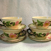 4 Franciscan Desert Rose Cups & Saucers England