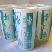 6 Vintage Hazel Atlas Turquoise Blue Fleur De Lis Milk Glass Tumblers Platonite