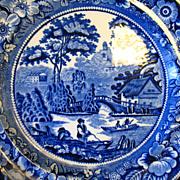 "Antique Flow Blue Plate 10 1/2"" Wild Rose 1784 G. Jones England"
