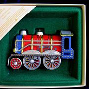 1984 Hallmark Tin Locomotive Train Toy Christmas Ornament In Box  # 3 In Series