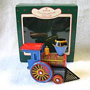 1988 Hallmark Tin Locomotive Train Toy Christmas Ornament In Box # 7 In Series