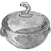 Heisey Orchid Etch Covered Chocolate Candy Dish Wave Finial