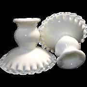 Vintage Pair Fenton Silver Crest Candle Holders Candlesticks White Milk Glass