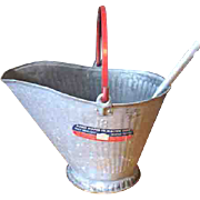 Vintage Metal Ash Coal Fireplace Scuttle Bucket Red Handle With Shovel