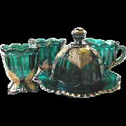 EAPG Northwood REGENT Blue Green Table Set Butter Spooner etc Leaf Medallion