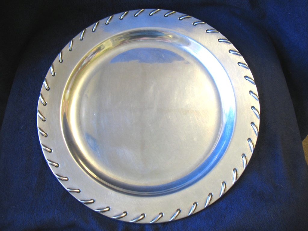 """Vintage Wilton Armetale Pewter Tray Large 14"""" Rope Stitch Laced Edge"""