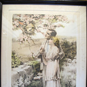 """Original Vintage 1920's Bessie Pease Gutmann """"Home Builders"""" Print Framed Young Couple # 655"""