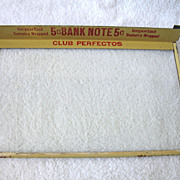 Vintage Glass Cigar Box Cover Lid Store Display 5 Cent Bank Note Club Perfectos
