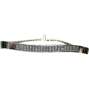 Estate Ladies 18K White Gold Bracelet Embellished with Diamonds