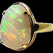 "Ladies ""Opalized Wood"" Australian Solid 10.78 Carat Opal 18K Yellow Gold Ring"