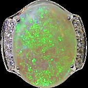 24.07 Carat Australian Opal 18 Karat Gold Ladies Ring with Diamond Accents