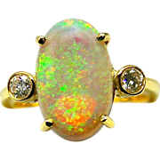 Ladies 3.70 carat Solid Australian Opal 18K Yellow Gold Ring with Diamond Accents