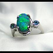 Ladies 2.61 Carat Lightning Ridge Opal 18K White Gold Ring with Blue Diamond Accents
