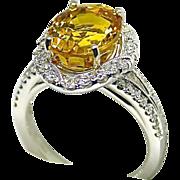 Ladies 6.81 Carat Yellow Sapphire 18K White Gold Ring with Diamond Halo