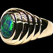Ladies Solid Lightning Ridge 1.14 Carat Opal 18K Yellow Gold Ring