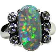 Ladies Spectacular 4.22 Carat Solid Opal 18K White Gold Ring with Diamond Accents