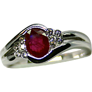 Ladies .90 Carat Ruby 14K White Gold Ring Accented by Diamonds