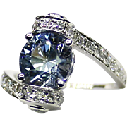 """Estate Ladies Natural Blue """"No Heat"""" Sapphire 18K White Gold Ring adorned with Diamonds"""